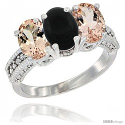 10K White Gold Natural Black Onyx & Morganite Sides Ring 3-Stone Oval 7x5 mm Diamond Accent