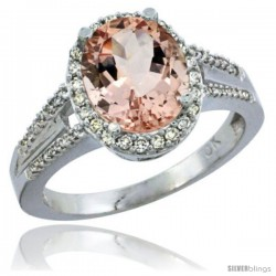 10K White Gold Natural Morganite Ring Oval 10x8 Stone Diamond Accent