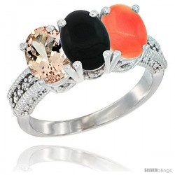 10K White Gold Natural Morganite, Black Onyx & Coral Ring 3-Stone Oval 7x5 mm Diamond Accent