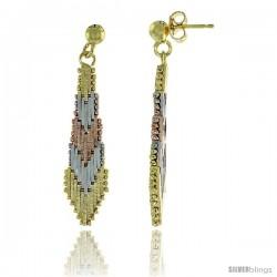 Sterling Silver Italian Tricolor Riccio Earrings, 1 1/8 in long