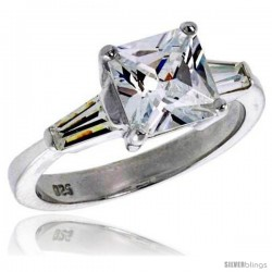 Sterling Silver 2 Carat Size Princess Cut Cubic Zirconia Bridal Ring