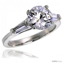 Sterling Silver 1.9 Carat size Brilliant Cut Cubic Zirconia Bridal Ring -Style Rcz324