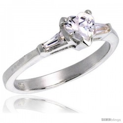Sterling Silver 1/2 Carat size Heart Cut Cubic Zirconia Bridal Ring
