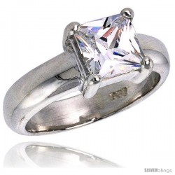 Sterling Silver 2.0 Carat Size Princess Cut Cubic Zirconia Solitaire Bridal Ring