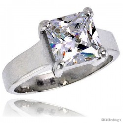 Sterling Silver 3 Carat size Princess Cut Cubic Zirconia Solitaire Bridal Ring