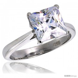 Sterling Silver 3 Carat size Princess Cut Cubic Zirconia Solitaire Bridal Ring -Style Rcz330