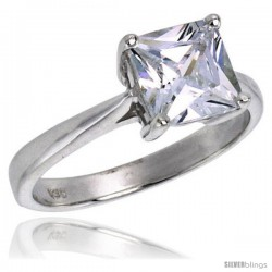 Sterling Silver 2.0 Carat Size Princess Cut Cubic Zirconia Solitaire Bridal Ring -Style Rcz331