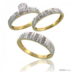 10k Yellow Gold Diamond Trio Engagement Wedding Ring 3-piece Set for Him & Her 5 mm & 3.5 mm wide 0.14 cttw Brilliant Cut