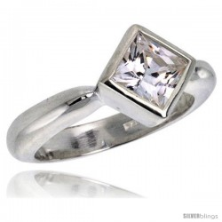 Sterling Silver .40 Carat Size Cubic Zirconia Solitaire Bridal Ring