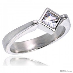 Sterling Silver .40 Carat Size Cubic Zirconia Solitaire Bridal Ring -Style Rcz333