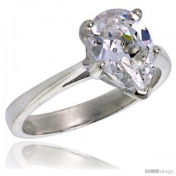 Sterling Silver 1 1/2 Carat Size Pear Cut Cubic Zirconia Solitaire Bridal Ring