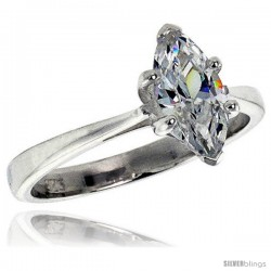 Sterling Silver .85 Carat size Marquise Cut Cubic Zirconia Solitaire Bridal Ring
