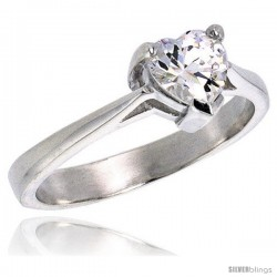 Sterling Silver .75 Carat size Heart Cut Cubic Zirconia Solitaire Bridal Ring