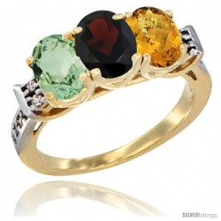 10K Yellow Gold Natural Green Amethyst, Garnet & Whisky Quartz Ring 3-Stone Oval 7x5 mm Diamond Accent