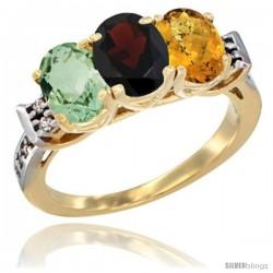 10K Yellow Gold Natural Green Amethyst, Garnet & Whisky Quartz Ring 3-Stone Oval 7x5 mm Diamond Accent