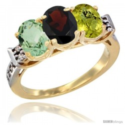 10K Yellow Gold Natural Green Amethyst, Garnet & Lemon Quartz Ring 3-Stone Oval 7x5 mm Diamond Accent