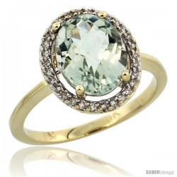 10k Yellow Gold Diamond Halo Green Amethyst Ring 2.4 carat Oval shape 10X8 mm, 1/2 in (12.5mm) wide
