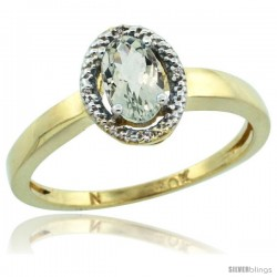 10k Yellow Gold Diamond Halo Green Amethyst Ring 0.75 Carat Oval Shape 6X4 mm, 3/8 in (9mm) wide