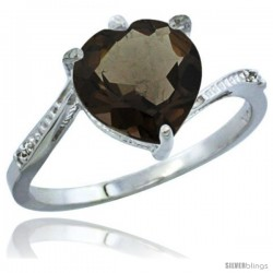 10K White Gold Natural Smoky Topaz Ring Heart-shape 9x9 Stone Diamond Accent