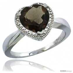 10K White Gold Natural Smoky Topaz Ring Heart-shape 8x8 Stone Diamond Accent