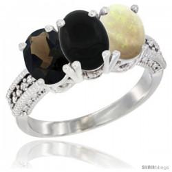 10K White Gold Natural Smoky Topaz, Black Onyx & Opal Ring 3-Stone Oval 7x5 mm Diamond Accent
