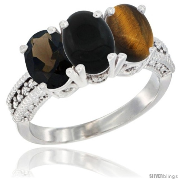 https://www.silverblings.com/89787-thickbox_default/10k-white-gold-natural-smoky-topaz-black-onyx-tiger-eye-ring-3-stone-oval-7x5-mm-diamond-accent.jpg