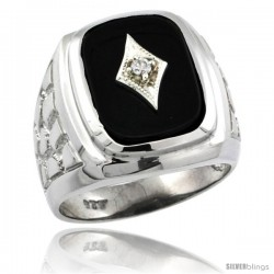 Sterling Silver Diamond Gent's Black Onyx Ring Diamond Center rectangular Shape Rhodium Finish