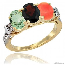 10K Yellow Gold Natural Green Amethyst, Garnet & Coral Ring 3-Stone Oval 7x5 mm Diamond Accent
