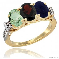 10K Yellow Gold Natural Green Amethyst, Garnet & Lapis Ring 3-Stone Oval 7x5 mm Diamond Accent