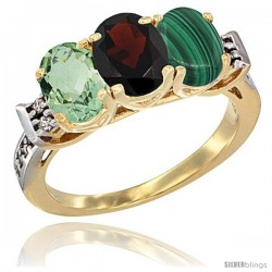 10K Yellow Gold Natural Green Amethyst, Garnet & Malachite Ring 3-Stone Oval 7x5 mm Diamond Accent