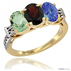 10K Yellow Gold Natural Green Amethyst, Garnet & Tanzanite Ring 3-Stone Oval 7x5 mm Diamond Accent