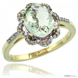 10k Yellow Gold Diamond Halo Green Amethyst Ring 1.65 Carat Oval Shape 9X7 mm, 7/16 in (11mm) wide