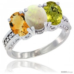 14K White Gold Natural Citrine, Opal & Lemon Quartz Ring 3-Stone 7x5 mm Oval Diamond Accent