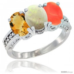 14K White Gold Natural Citrine, Opal & Coral Ring 3-Stone 7x5 mm Oval Diamond Accent