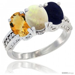 14K White Gold Natural Citrine, Opal & Lapis Ring 3-Stone 7x5 mm Oval Diamond Accent