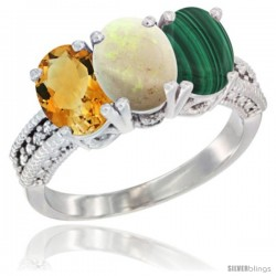 14K White Gold Natural Citrine, Opal & Malachite Ring 3-Stone 7x5 mm Oval Diamond Accent