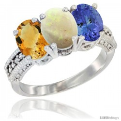 14K White Gold Natural Citrine, Opal & Tanzanite Ring 3-Stone 7x5 mm Oval Diamond Accent