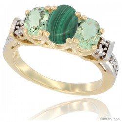 14K White Gold Natural Malachite & Green Amethyst Ring 3-Stone Oval with Diamond Accent