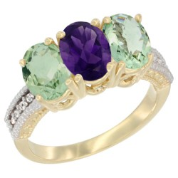 14K Yellow Gold Natural Amethyst & Green Amethyst Ring 3-Stone 7x5 mm Oval Diamond Accent