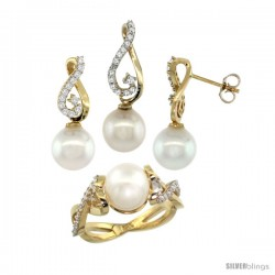 14k Gold Heart-shaped Loop Pearl Ring, Earrings & Necklace Set w/ 0.72 Carat Brilliant Cut ( H-I Color VS2-SI1 Clarity )