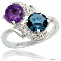 14k White Gold ( 7 mm ) Double Stone Engagement Amethyst & London Blue Topaz Ring w/ 0.05 Carat Brilliant Cut Diamonds & 2.34