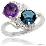 14k White Gold ( 7 mm ) Double Stone Engagement Amethyst & London Blue Topaz Ring w/ 0.05 Carat Brilliant Cut Diamonds & 2.34