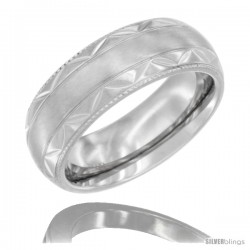 Surgical Steel Domed Wedding Band Ring Engraved Zigzag Pattern Millgrain Edges 7mm Comfort fit