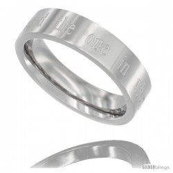 Surgical Steel Ladies Flat Wedding Band Ring 5mm I HAVE FOUND THE ONE IN WHOM MY SOUL DELIGHTS Comfort fit