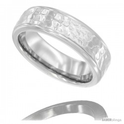 Surgical Steel Ladies Wedding Band Ring 6mm Shiny Hammered Finish Comfort fit