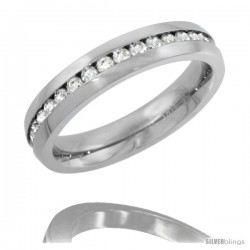 Surgical Steel Thin Ladies Eternity Wedding Band CZ Ring 4mm Comfort fit