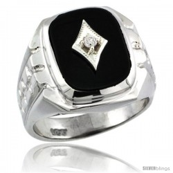 Sterling Silver Diamond Gent's Black Onyx Ring Diamond Center rectangular Shape Rhodium Finish -Style Rdia806