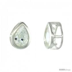 Sterling Silver Pear Shape CZ Teardrop Slide Pendant 1/2 in.