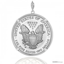 Sterling Silver Silver Eagle Bezel 41 mm Coins Prong Back Round Edge