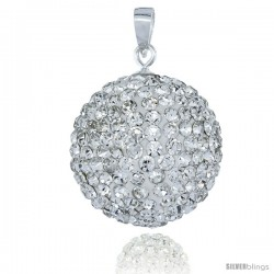 Sterling Silver 20 mm White Crystal Disco Ball Pendant